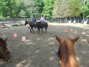 Riding Class Drew on Whisper; Sue on Santana 5-30-18